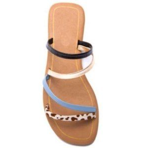 Strappy Slide Sandals in Black, Blue & Cow Print